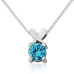 Precious Moments - Sterling silver blue cubic zirconia 'kiss' pendant