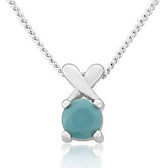 Precious Moments - Sterling silver created turquoise 'kiss' pendant