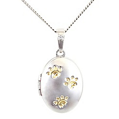Pawprints - Silver diamond set locket