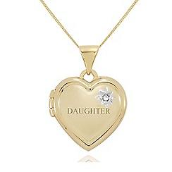 Precious Moments - 9ct gold diamond set 'daughter' heart shaped locket