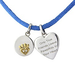 Pawprints - Silver and 9ct gold cord pendant