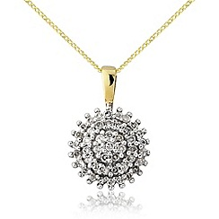 Love Story - 9ct yellow gold diamond cluster pendant