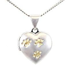 Pawprints - Silver heart locket pendant