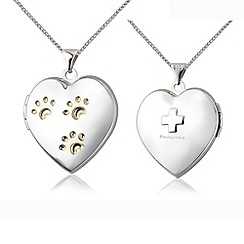 Pawprints - Silver heart locket