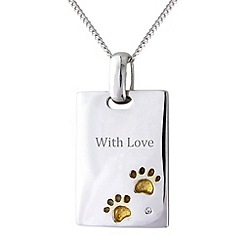 Pawprints - Sterling silver 'With Love' tag pendant
