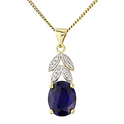 Precious Moments - Silver, 9ct gold plated created sapphire pendant