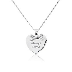 Pawprints - Silver heart shaped 'Always Loved' pawprints pendant