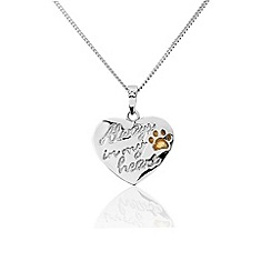 Pawprints - Sterling silver 'Always In My Heart' pendant