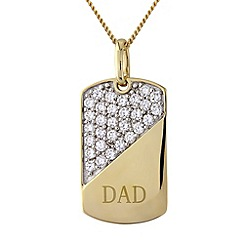Precious Moments - Silver and 9ct gold plated 'dad' stone-set pendant