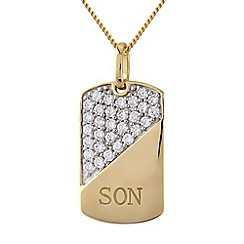 Precious Moments - Silver and 9ct gold plated 'son' stone-set pendant