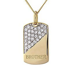 Precious Moments - Silver 9ct gold plated 'brother' stone-set pendant