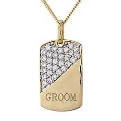 Precious Moments - Silver, 9ct gold plated 'groom' stone-set pendant