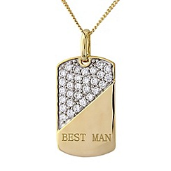 Precious Moments - Silver, 9ct gold plated best man stone-set pendant