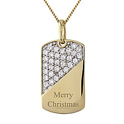 Precious Moments - Silver, 9ct gold plated 'merry christmas' pendant