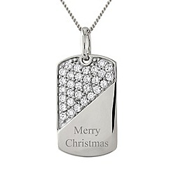 Precious Moments - Silver 'merry christmas' stone-set pendant