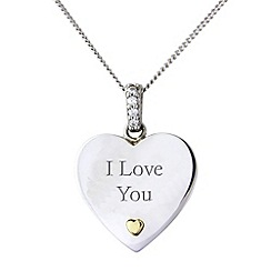 Precious Moments - Silver & 9ct gold, 'i love you' pendant