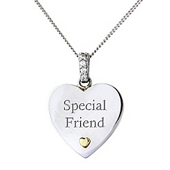 Precious Moments - Silver & 9ct gold, 'special friend' pendant by 'precious memories'