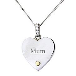 Precious Moments - Silver & 9ct gold 'mum' pendant