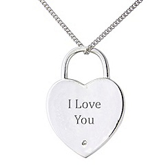 Precious Moments - Sterling silver heart shaped 'PS I Love You' pendant