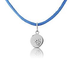 Pawprints - Silver disc & blue silk cord pendant