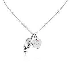 Precious Moments - Sterling silver heart, wing, stone set 'Sister' pendant