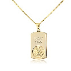 Love Story - Gents silver and yellow rhodium st christopher, 'best man', pendant