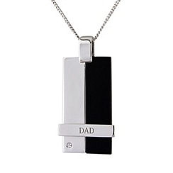 Precious Moments - Silver, onyx 'dad' pendant