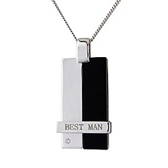 Precious Moments - Silver onyx best man pendant