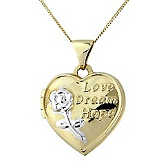 Precious Moments - 9ct gold 'Love, dream, hope' locket