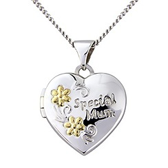 Precious Moments - Silver and 9ct gold 'special mum' locket