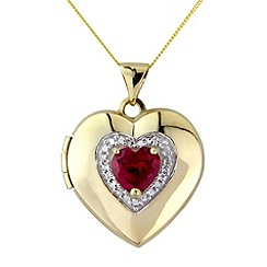Love Story - 9ct gold stone set locket