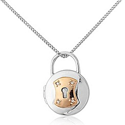 Precious Moments - Sterling silver and 9ct rose gold plate padlock locket