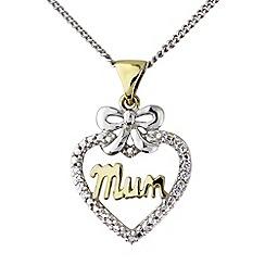 Precious Moments - Silver 'Mum' cz heart pendant