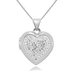 Precious Moments - 9ct white gold crystal-set ladies locket