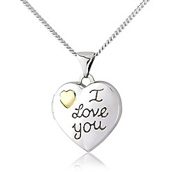Love Story - Silver and 9ct gold, 'i love you' locket