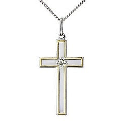 Love Story - Silver stone set cross pendant