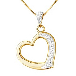 Love Story - Silver 9ct gold crystal heart pendant