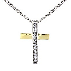 Love Story - Silver and 9ct gold cross pendant