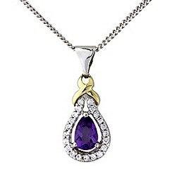 Love Story - Silver and 9ct gold amethyst pendant