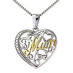 Precious Moments - Silver, 9ct gold mum pendant