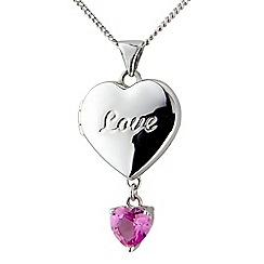 Precious Moments - Silver and pink created sapphire 'Love' locket