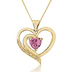 Love Story - 9ct Gold Stone-Set Heart Pendant