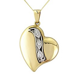 Love Story - 9ct gold stone- set heart pendant
