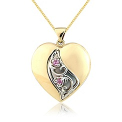 Love Story - 9ct gold stone set heart pendant
