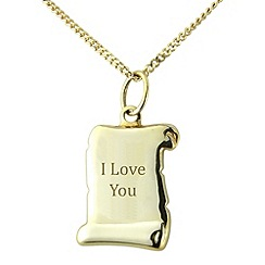 Precious Moments - Sterling silver scroll 'I Love You' pendant