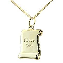 Precious Moments - Sterling silver scroll 'I Love You' pendant