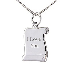 Precious Moments - Silver scroll 'I love you' pendant