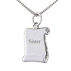 Precious Moments - Silver scroll, 'Sister', pendant