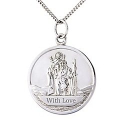 Precious Moments - Sterling silver st christopher 'With Love' pendant