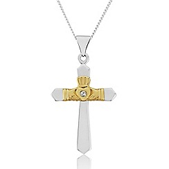 Precious Moments - 9ct White and Yellow Gold 'Claddagh' Cross